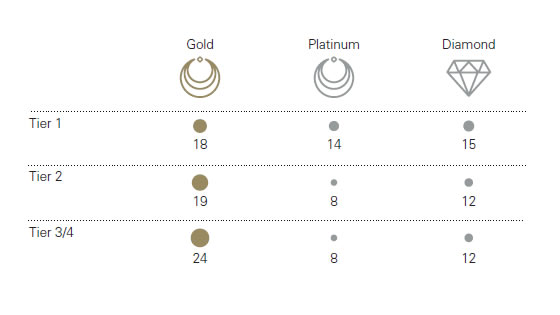Recent analysis of consumer behaviour, conducted by the World Gold Council, highlights two significant trends.  First, consumer preferences differ from one region to another. Competition is particularly fierce in Tier 1 cities, where diamond and platinum jewellery is almost as popular as gold products. In lower-tier cities, by contrast, consumers tend to buy high carat, heavy gold jewellery for wealth preservation purposes (Figure 1).  Figure 1: Percentage of women who, if given RMB5,000 would choose a specific jewellery product